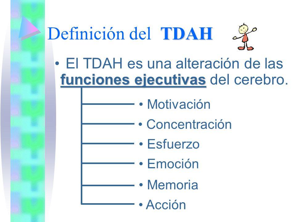 TDAH Definición del TDAH El TDAH es una alteración de las funciones ejecutivas del cerebro.