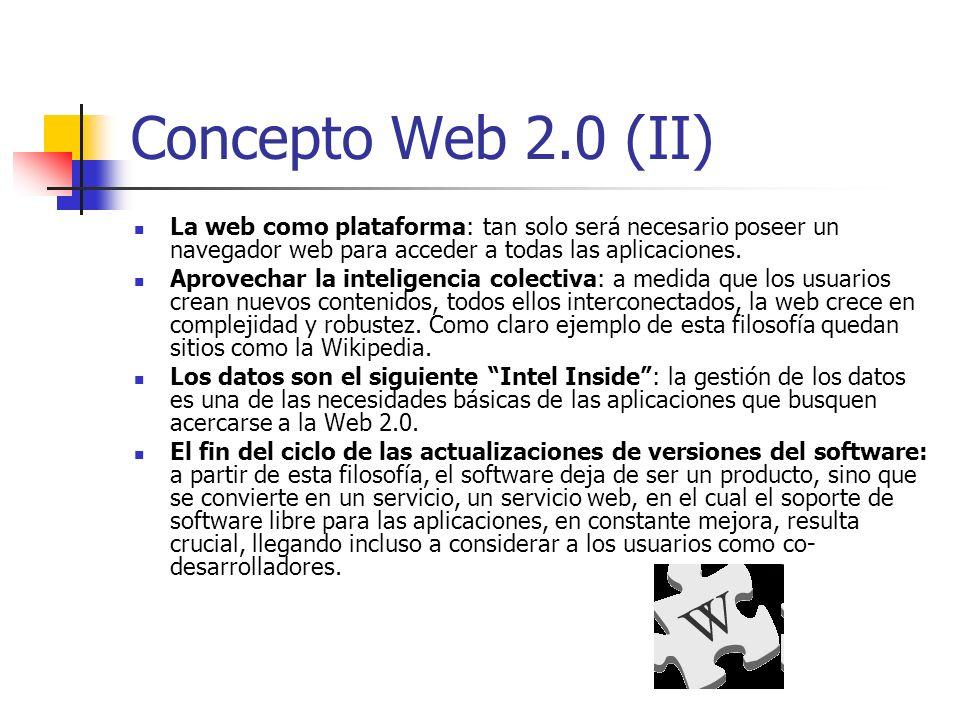 Tecnología Web 2.0 Técnicas: CSS, marcado XHTML válido semánticamente y Microformatos Técnicas de aplicaciones ricas no intrusivas (como AJAX) Java Web Start XUL Redifusión/Agregación de datos en RSS/ATOM URLs sencillas y con significado (SEM) Soporte para postear en un blog JCC y APIs REST o XML JSON Algunos aspectos de redes sociales Mashup (aplicación web híbrida)