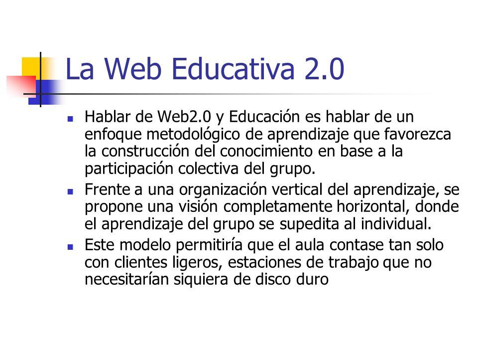 La Web Educativa 2.0 Hablar de Web2.0 y Educación es hablar de un enfoque metodológico de aprendizaje que favorezca la construcción del conocimiento e