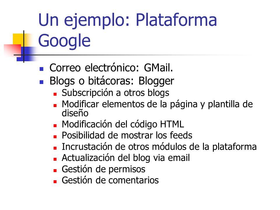 Un ejemplo: Plataforma Google (II) Agenda: Google Calendar Invitación a eventos a los contactos de GMail Calendarios públicos y privados Buscador de calendarios Compatibilidad con iCal Incrustación del calendario en otras herramientas de la plataforma Notificaciones por móvil