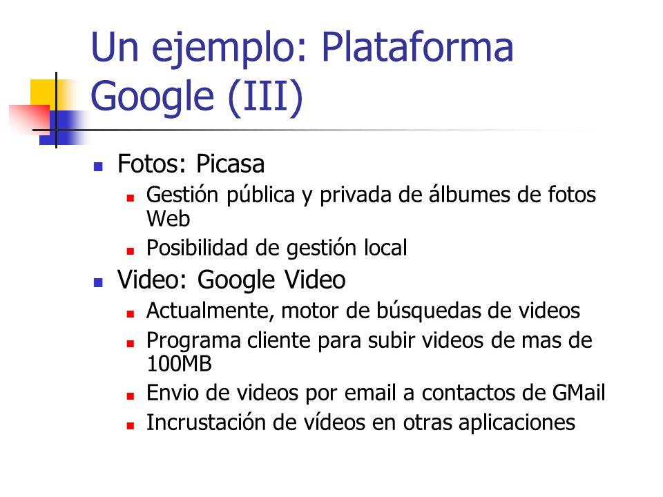 Un ejemplo: Plataforma Google (III) Fotos: Picasa Gestión pública y privada de álbumes de fotos Web Posibilidad de gestión local Video: Google Video A