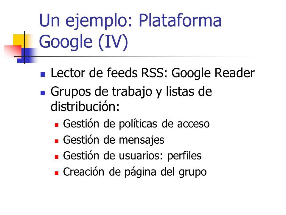 Un ejemplo: Plataforma Google (V) Creación de documentos: Google Docs Los documentos se pueden compartir y publicar Tipos: hoja de cálculo, texto y presentación Subida de documentos ya existentes Espacio web con carpetas para guardar los documentos.