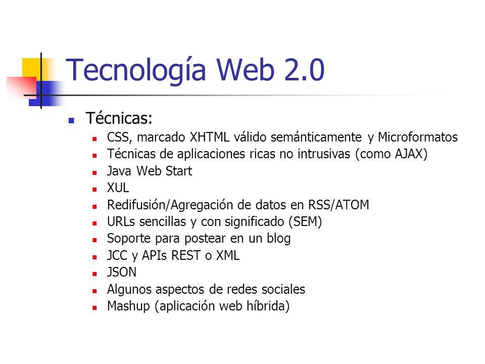 Tecnología Web 2.0 Técnicas: CSS, marcado XHTML válido semánticamente y Microformatos Técnicas de aplicaciones ricas no intrusivas (como AJAX) Java We