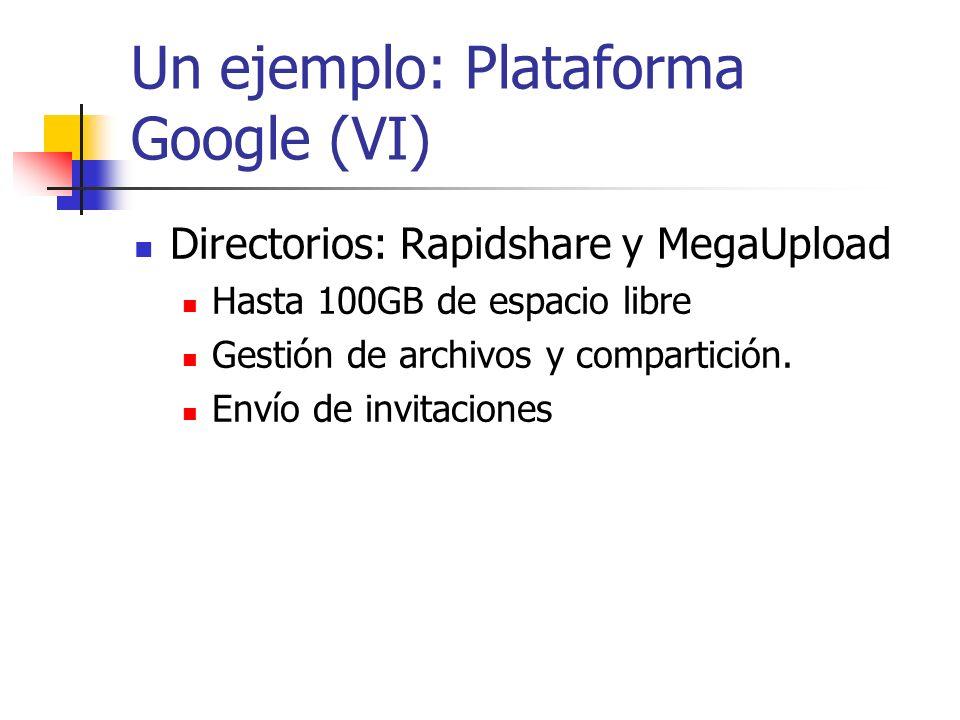 Un ejemplo: Plataforma Google (VI) Directorios: Rapidshare y MegaUpload Hasta 100GB de espacio libre Gestión de archivos y compartición. Envío de invi