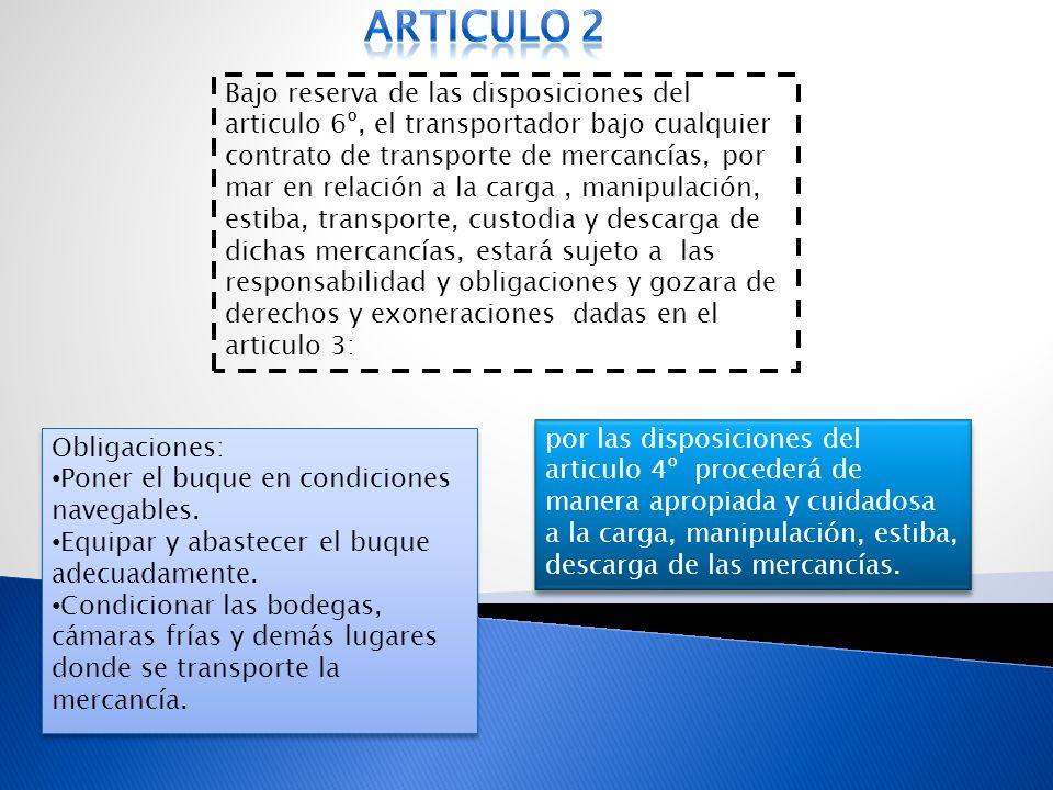 Bajo reserva de las disposiciones del articulo 6º, el transportador bajo cualquier contrato de transporte de mercancías, por mar en relación a la carg