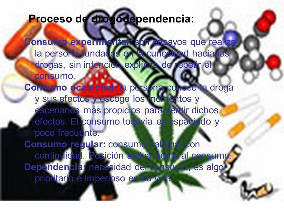 Proceso de drogodependencia: Consumo experimental: son ensayos que realiza la persona fundados en la curiosidad hacia las drogas, sin intención explíc