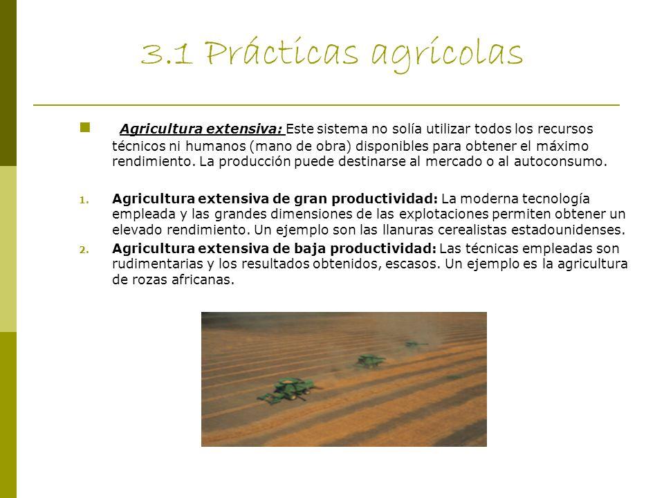3.1 Prácticas agrícolas Agricultura extensiva: Este sistema no solía utilizar todos los recursos técnicos ni humanos (mano de obra) disponibles para o