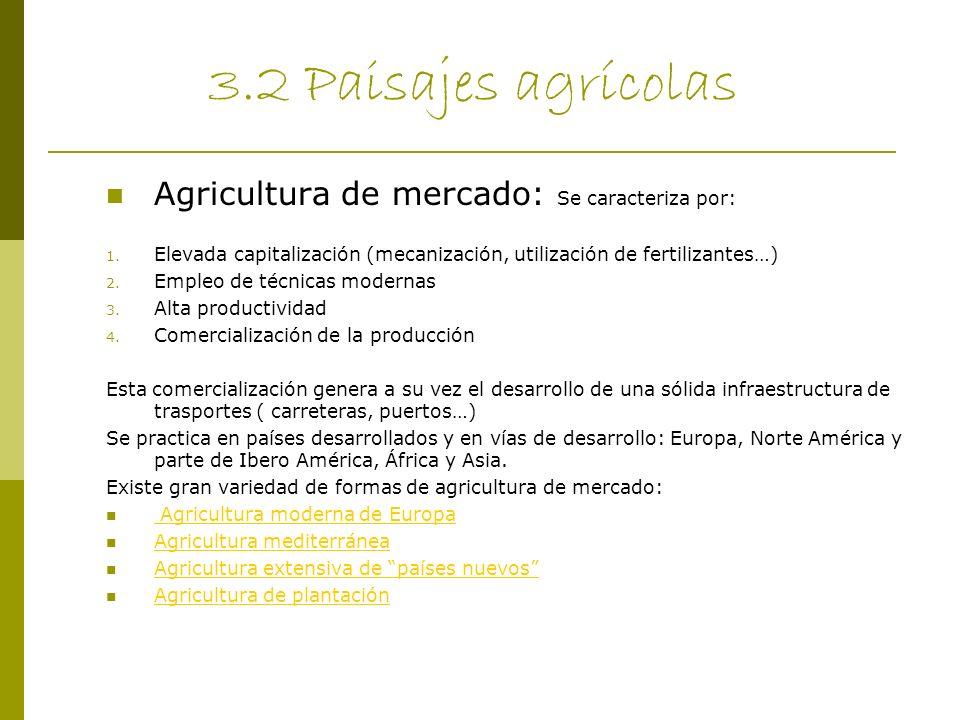 3.2 Paisajes agrícolas Agricultura de mercado: Se caracteriza por: 1. Elevada capitalización (mecanización, utilización de fertilizantes…) 2. Empleo d