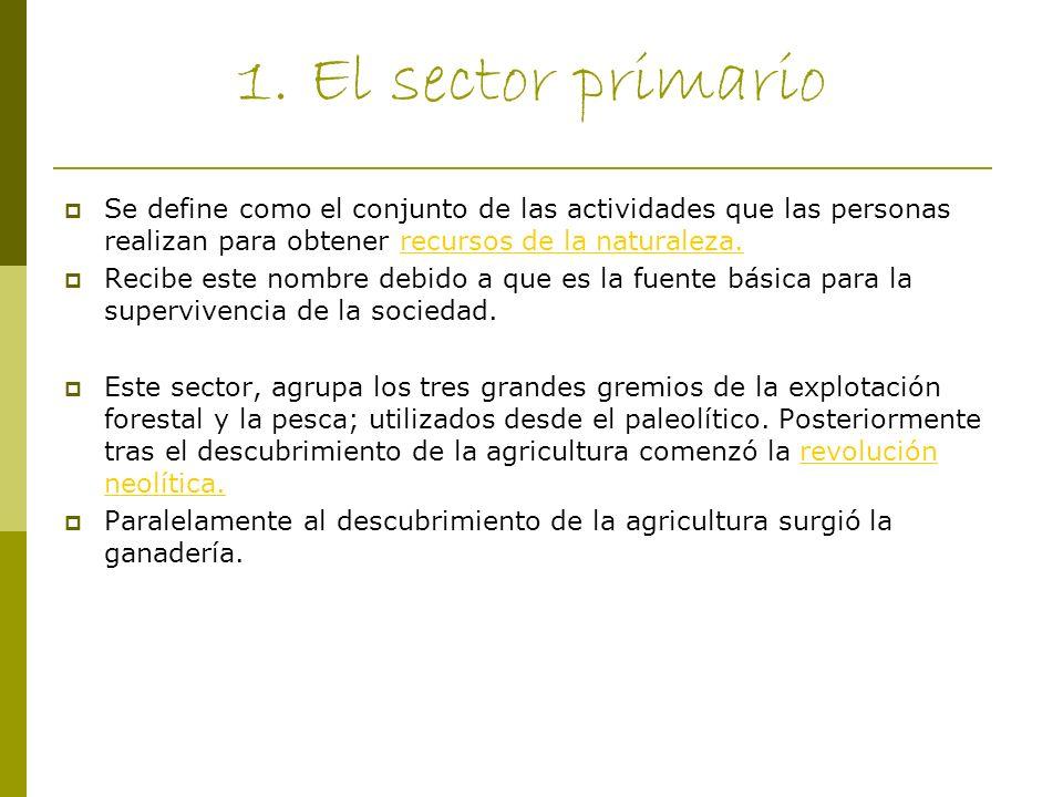 1. El sector primario Se define como el conjunto de las actividades que las personas realizan para obtener recursos de la naturaleza.recursos de la na