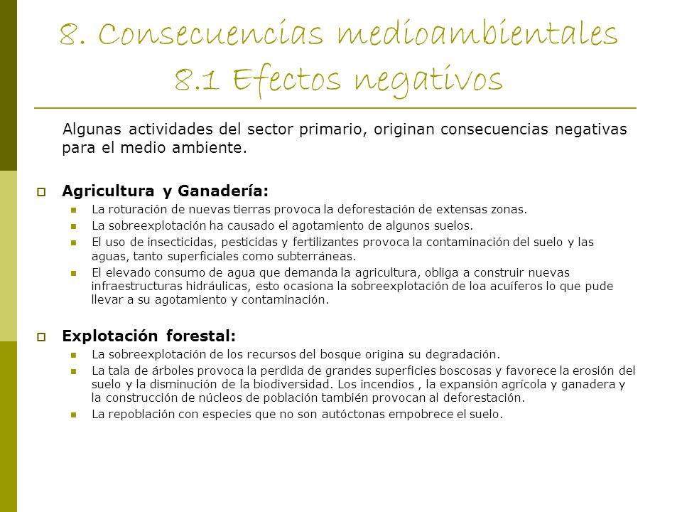 8. Consecuencias medioambientales 8.1 Efectos negativos Algunas actividades del sector primario, originan consecuencias negativas para el medio ambien