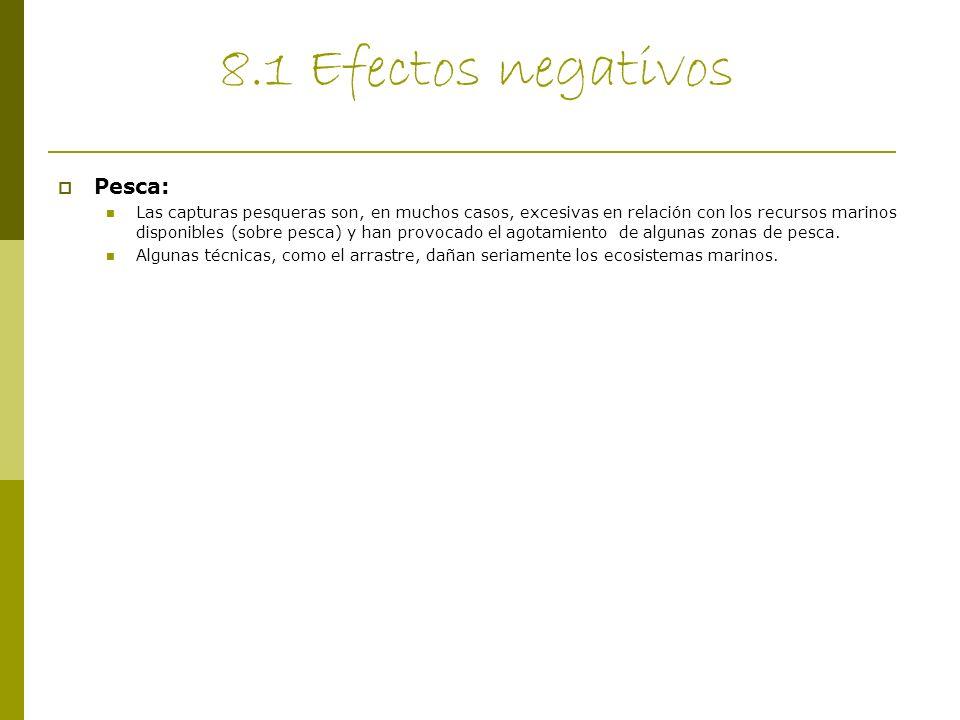 8.1 Efectos negativos Pesca: Las capturas pesqueras son, en muchos casos, excesivas en relación con los recursos marinos disponibles (sobre pesca) y h