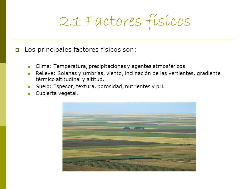 2.1 Factores físicos Los principales factores físicos son: Clima: Temperatura, precipitaciones y agentes atmosféricos. Relieve: Solanas y umbrías, vie