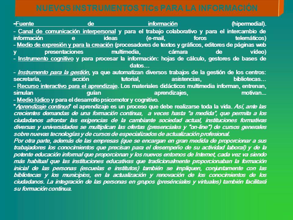 NUEVOS INSTRUMENTOS TICs PARA LA INFORMACIÓN - Fuente de información (hipermedial). - Canal de comunicación interpersonal y para el trabajo colaborati
