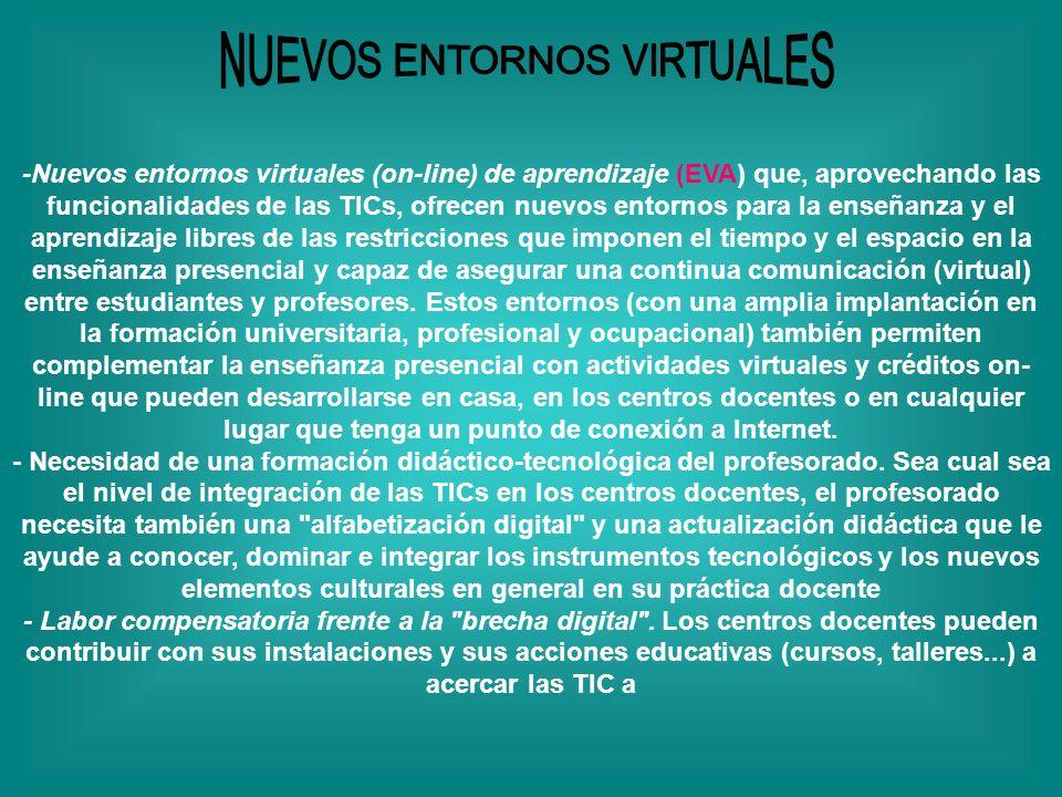 -Nuevos entornos virtuales (on-line) de aprendizaje (EVA) que, aprovechando las funcionalidades de las TICs, ofrecen nuevos entornos para la enseñanza