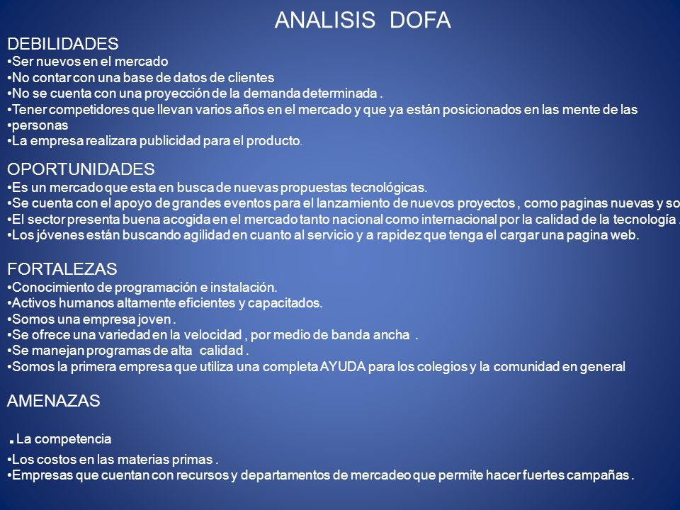 ANALISIS DOFA DEBILIDADES Ser nuevos en el mercado No contar con una base de datos de clientes No se cuenta con una proyección de la demanda determina