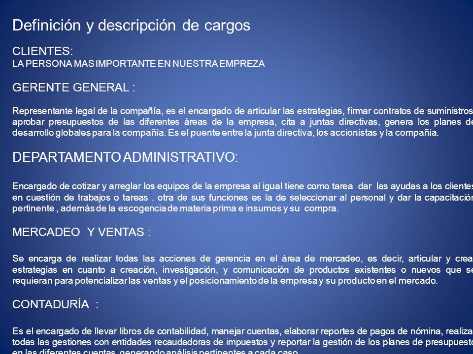 Definición y descripción de cargos CLIENTES: LA PERSONA MAS IMPORTANTE EN NUESTRA EMPREZA GERENTE GENERAL : Representante legal de la compañía, es el