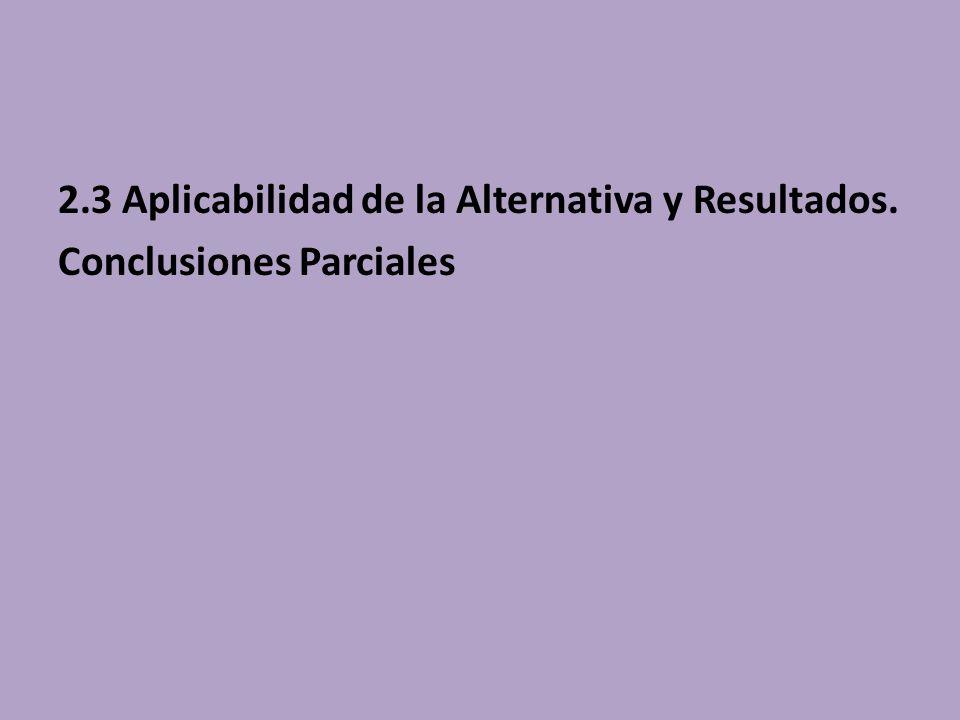 2.3 Aplicabilidad de la Alternativa y Resultados. Conclusiones Parciales