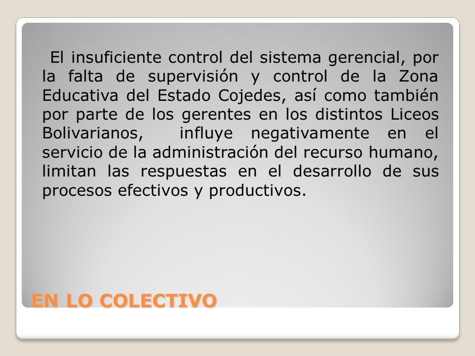 EN LO COLECTIVO El insuficiente control del sistema gerencial, por la falta de supervisión y control de la Zona Educativa del Estado Cojedes, así como también por parte de los gerentes en los distintos Liceos Bolivarianos, influye negativamente en el servicio de la administración del recurso humano, limitan las respuestas en el desarrollo de sus procesos efectivos y productivos.