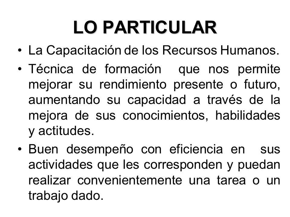 LO PARTICULAR La Capacitación de los Recursos Humanos.