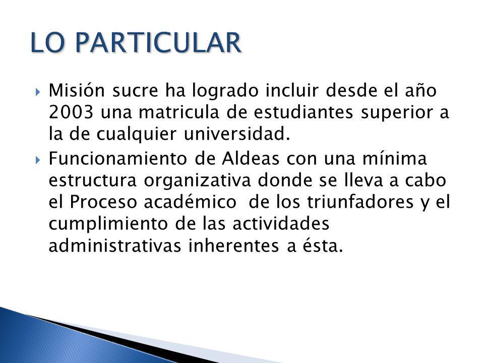 Misión sucre ha logrado incluir desde el año 2003 una matricula de estudiantes superior a la de cualquier universidad. Funcionamiento de Aldeas con un