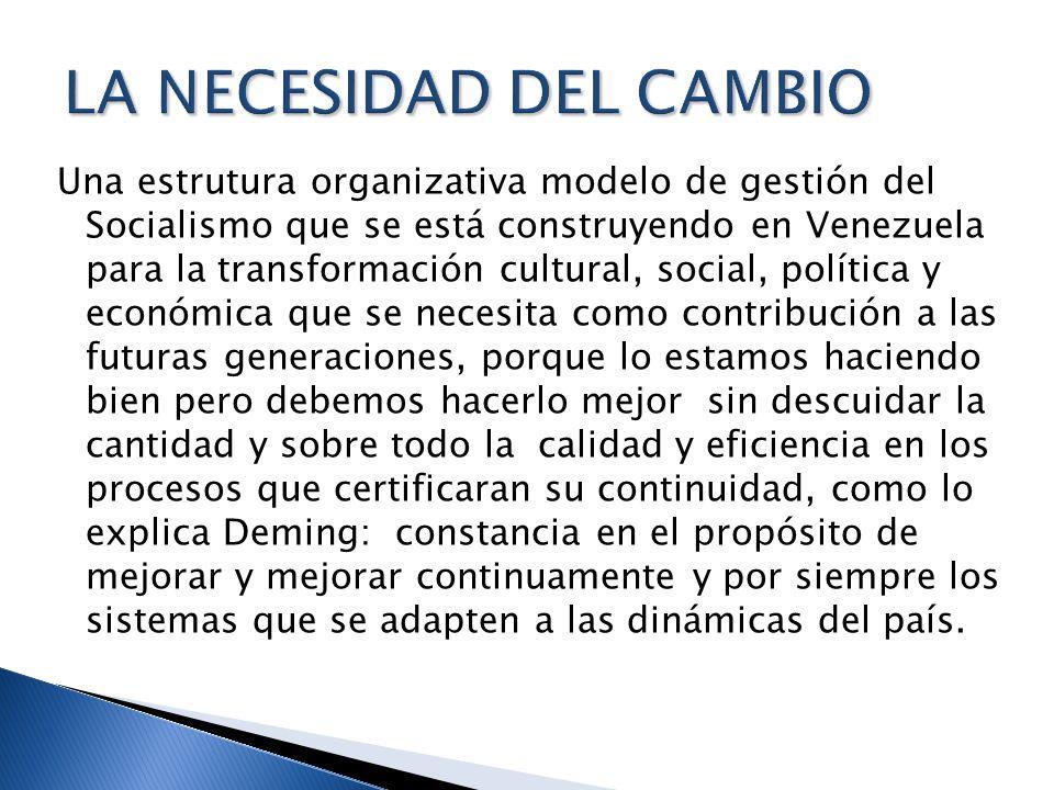 Una estrutura organizativa modelo de gestión del Socialismo que se está construyendo en Venezuela para la transformación cultural, social, política y