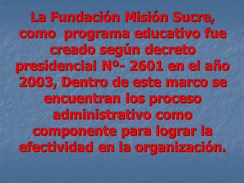 La Fundación Misión Sucre, como programa educativo fue creado según decreto presidencial Nº- 2601 en el año 2003, Dentro de este marco se encuentran los proceso administrativo como componente para lograr la efectividad en la organización.