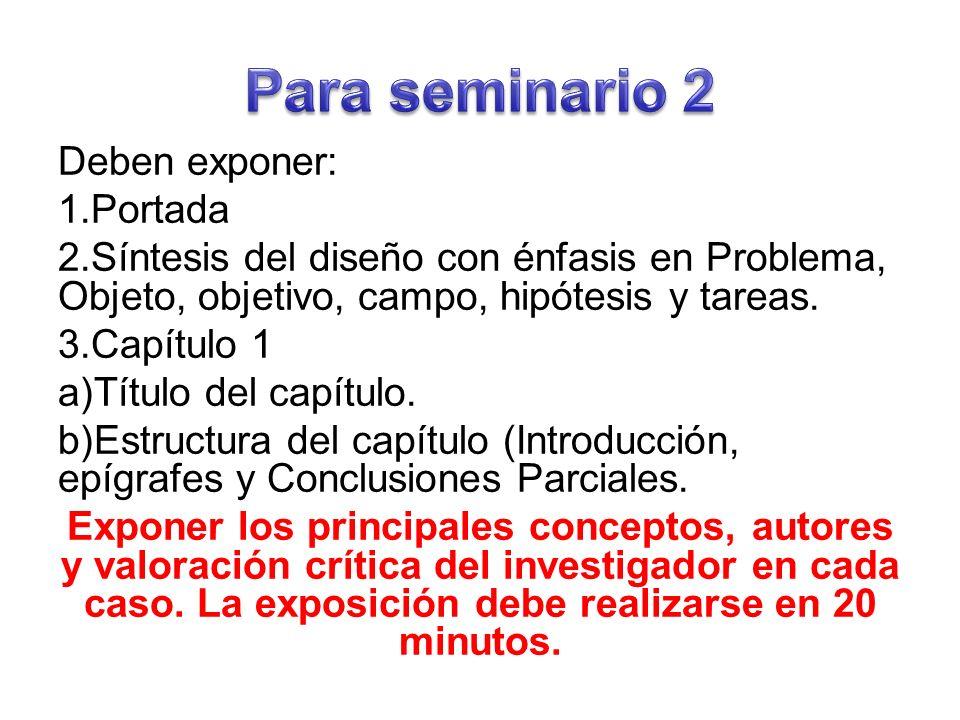 Deben exponer: 1.Portada 2.Síntesis del diseño con énfasis en Problema, Objeto, objetivo, campo, hipótesis y tareas.