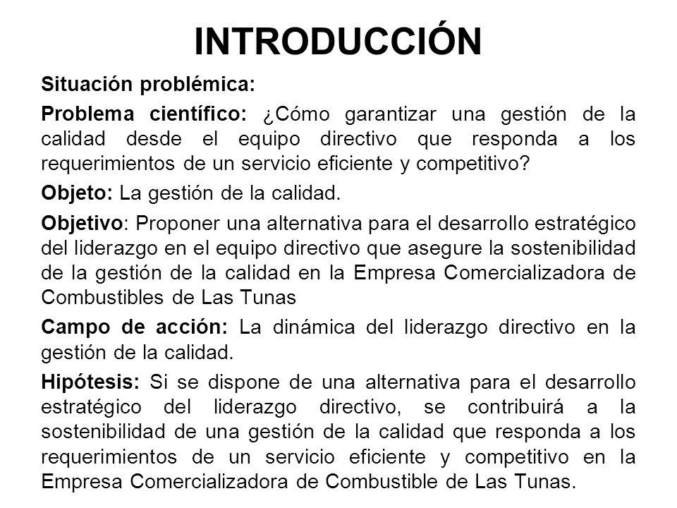 INTRODUCCIÓN Situación problémica: Problema científico: ¿Cómo garantizar una gestión de la calidad desde el equipo directivo que responda a los requer