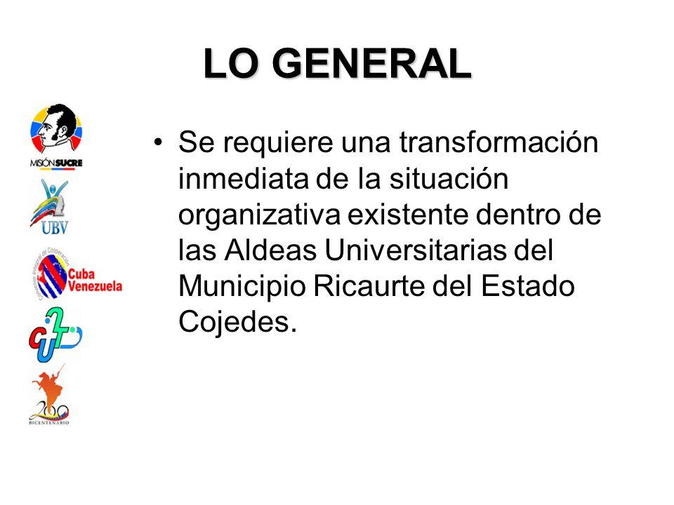 LO GENERAL Se requiere una transformación inmediata de la situación organizativa existente dentro de las Aldeas Universitarias del Municipio Ricaurte del Estado Cojedes.