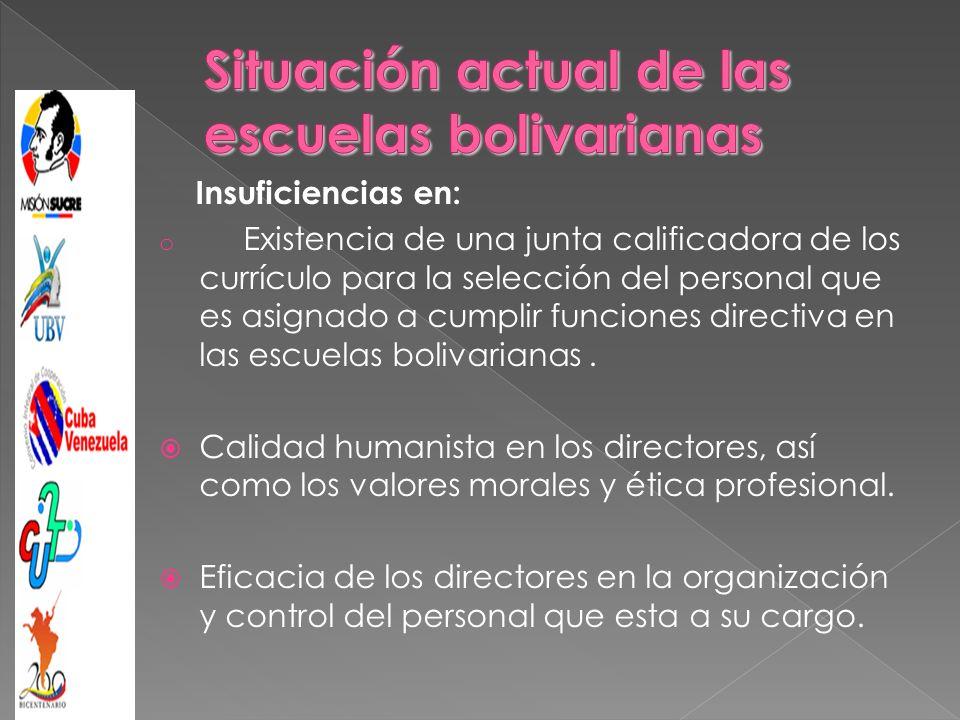 Insuficiencias en: o Existencia de una junta calificadora de los currículo para la selección del personal que es asignado a cumplir funciones directiva en las escuelas bolivarianas.