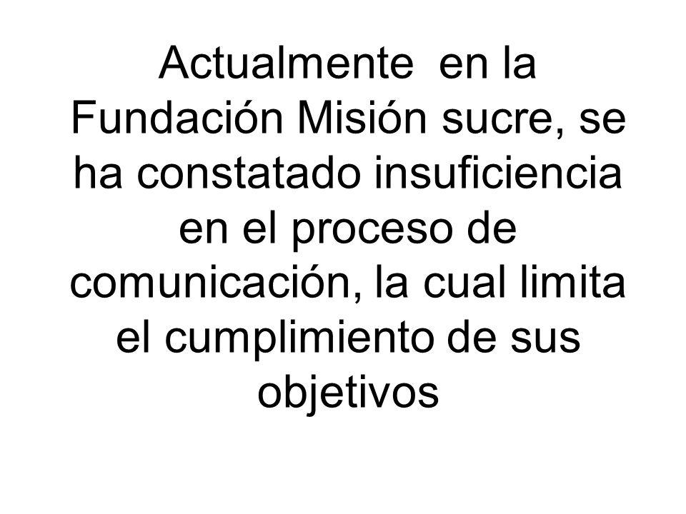Actualmente en la Fundación Misión sucre, se ha constatado insuficiencia en el proceso de comunicación, la cual limita el cumplimiento de sus objetivos