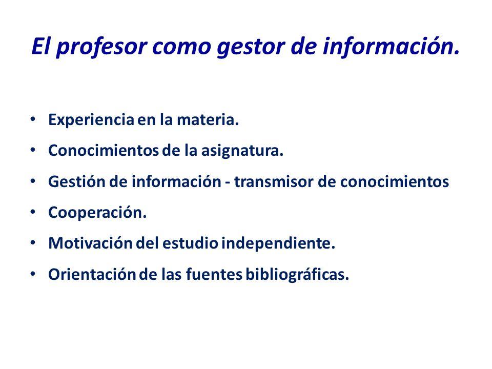 El profesor como gestor de información. Experiencia en la materia. Conocimientos de la asignatura. Gestión de información - transmisor de conocimiento