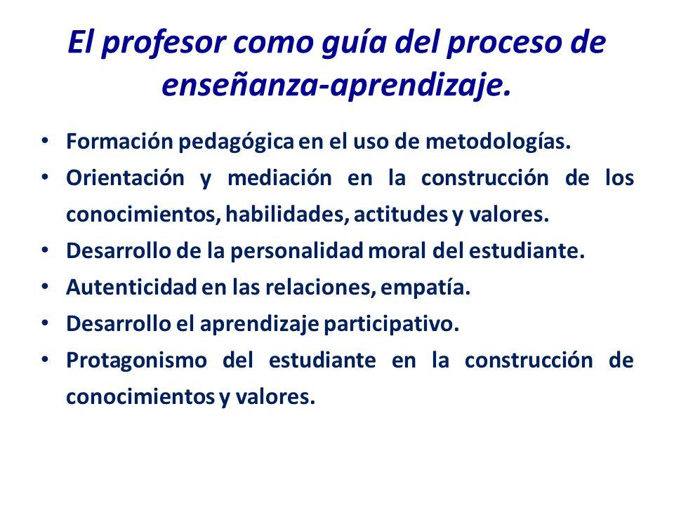 El profesor como guía del proceso de enseñanza-aprendizaje. Formación pedagógica en el uso de metodologías. Orientación y mediación en la construcción