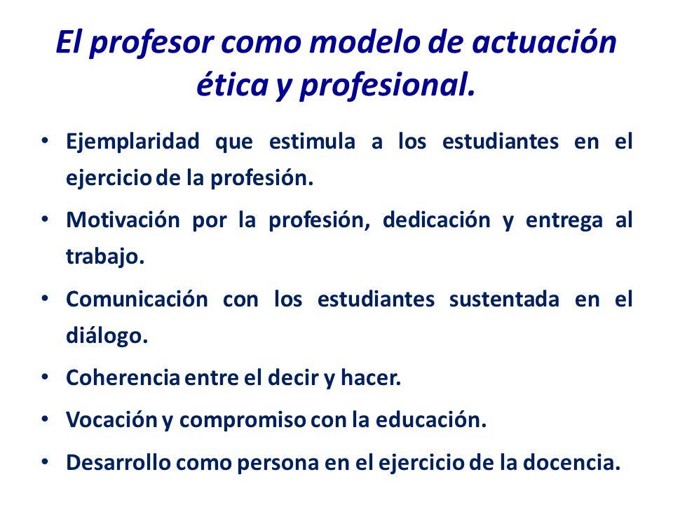 El profesor como modelo de actuación ética y profesional. Ejemplaridad que estimula a los estudiantes en el ejercicio de la profesión. Motivación por