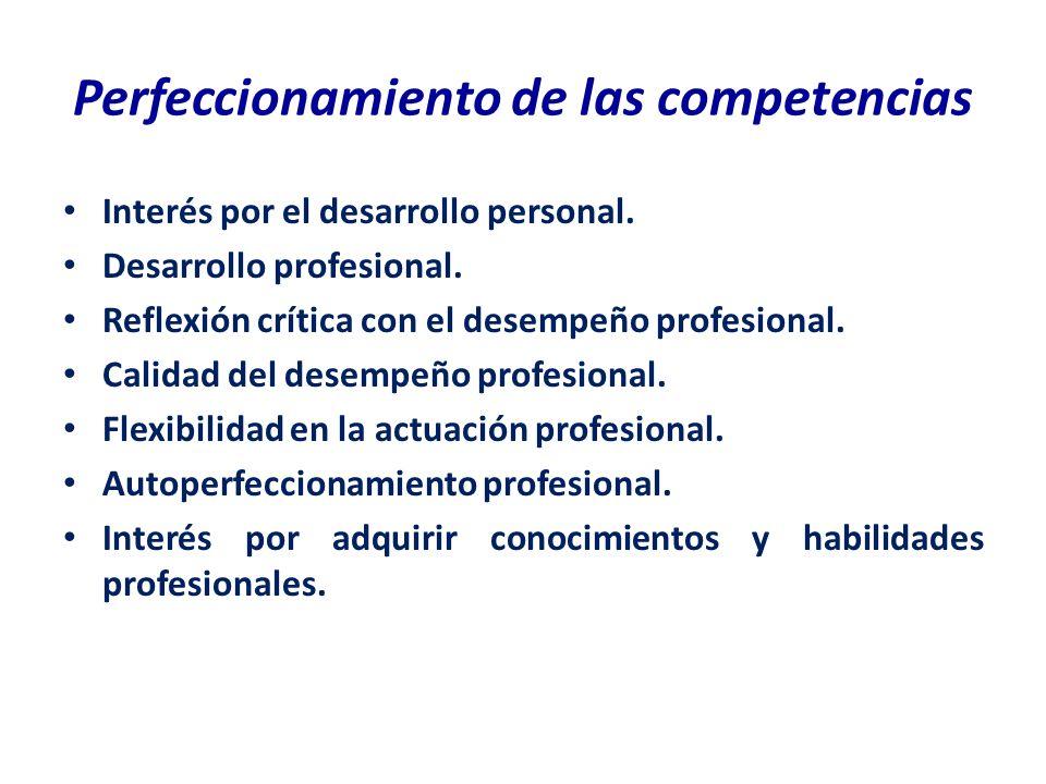Perfeccionamiento de las competencias Interés por el desarrollo personal. Desarrollo profesional. Reflexión crítica con el desempeño profesional. Cali