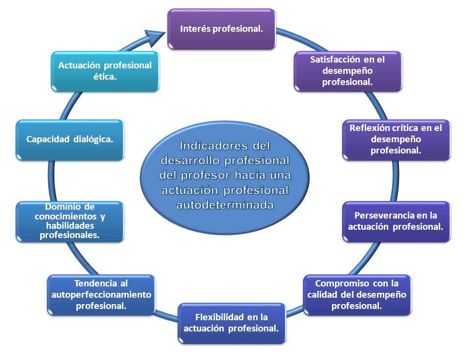 Interés profesional. Satisfacción en el desempeño profesional. Reflexión crítica en el desempeño profesional. Perseverancia en la actuación profesiona