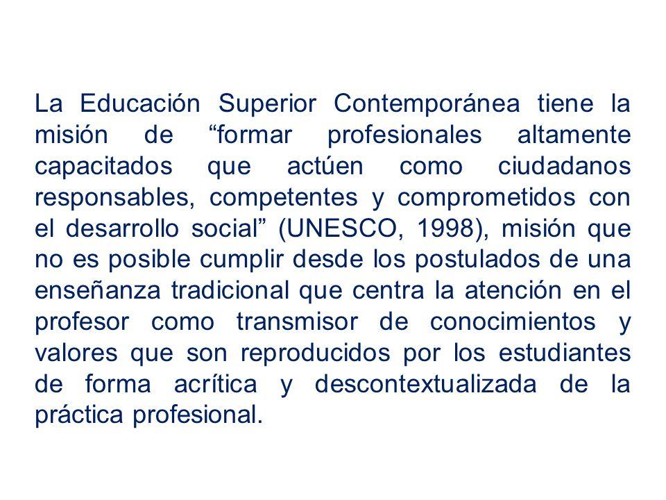 La Educación Superior Contemporánea tiene la misión de formar profesionales altamente capacitados que actúen como ciudadanos responsables, competentes