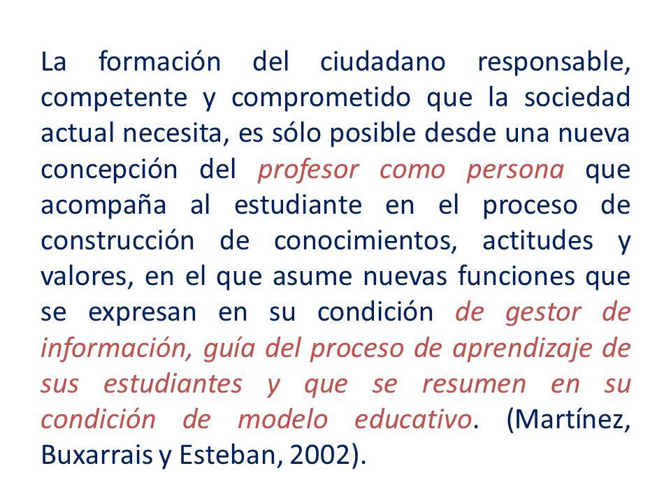 La formación del ciudadano responsable, competente y comprometido que la sociedad actual necesita, es sólo posible desde una nueva concepción del prof