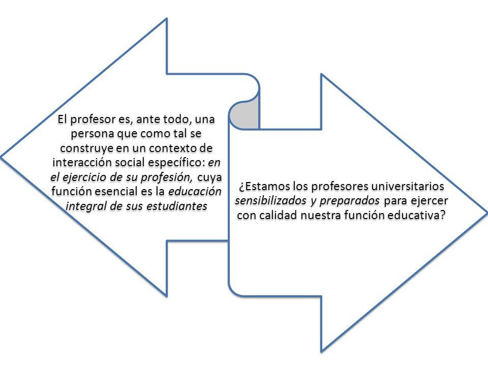 El profesor es, ante todo, una persona que como tal se construye en un contexto de interacción social específico: en el ejercicio de su profesión, cuy