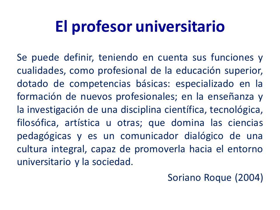 El profesor universitario Se puede definir, teniendo en cuenta sus funciones y cualidades, como profesional de la educación superior, dotado de compet