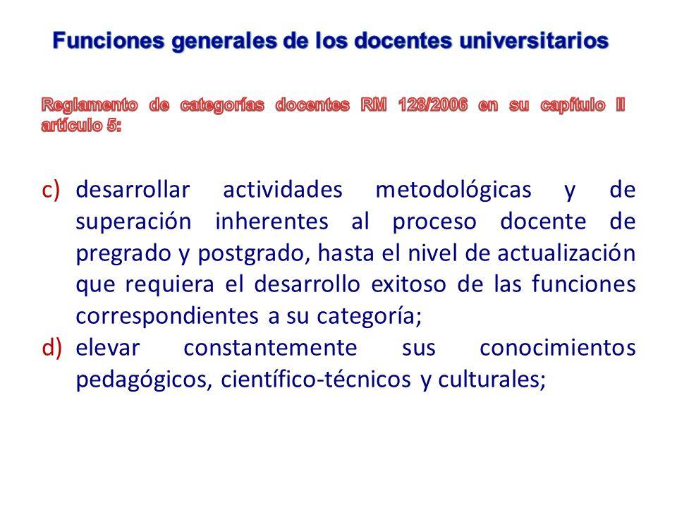 c)desarrollar actividades metodológicas y de superación inherentes al proceso docente de pregrado y postgrado, hasta el nivel de actualización que req
