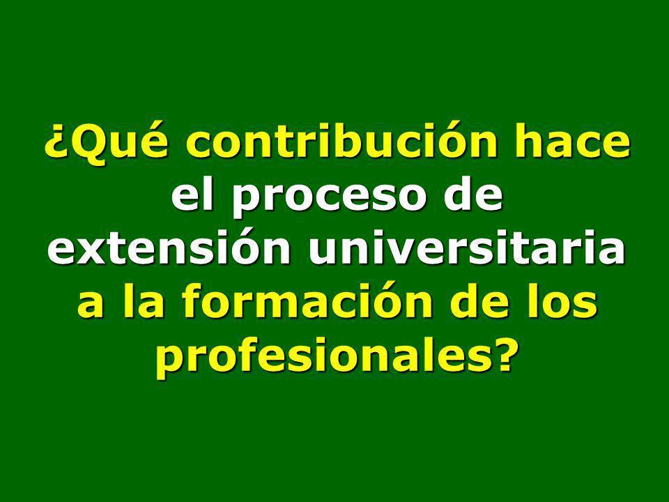 ¿Qué contribución hace el proceso de extensión universitaria a la formación de los profesionales?