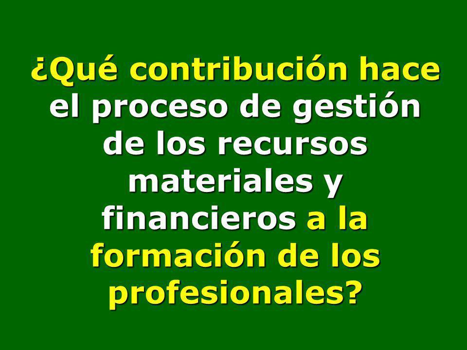 ¿Qué contribución hace el proceso de gestión de los recursos materiales y financieros a la formación de los profesionales?