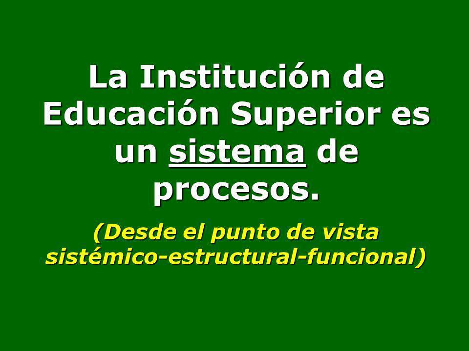 La Institución de Educación Superior es un sistema de procesos. (Desde el punto de vista sistémico-estructural-funcional)