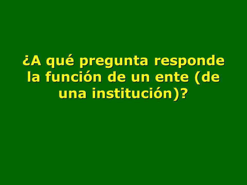 ¿A qué pregunta responde la función de un ente (de una institución)?