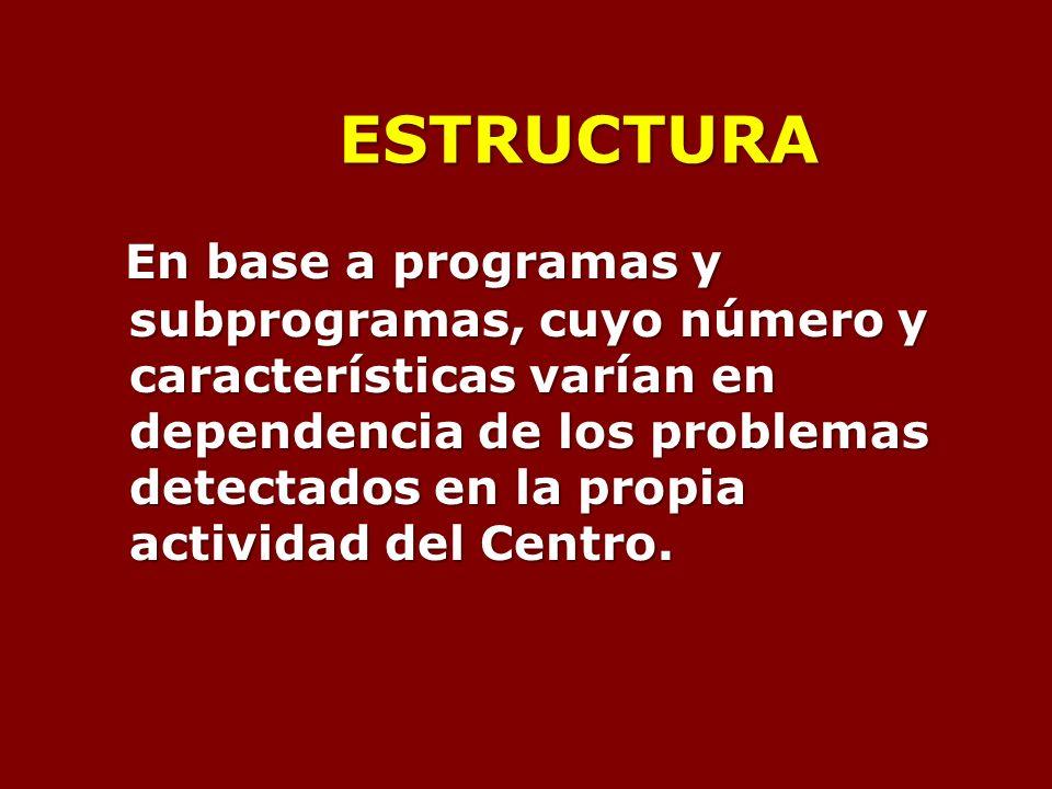 ESTRUCTURA En base a programas y subprogramas, cuyo número y características varían en dependencia de los problemas detectados en la propia actividad del Centro.
