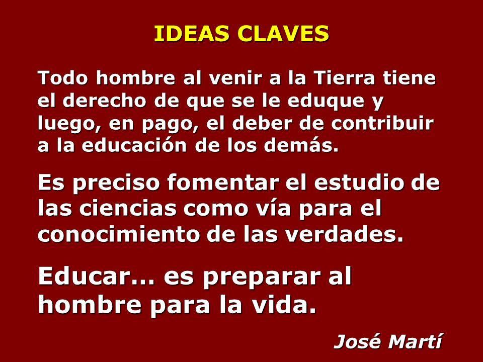 IDEAS CLAVES Todo hombre al venir a la Tierra tiene el derecho de que se le eduque y luego, en pago, el deber de contribuir a la educación de los demás.