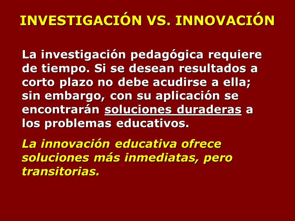 INVESTIGACIÓN VS. INNOVACIÓN La investigación pedagógica requiere de tiempo.