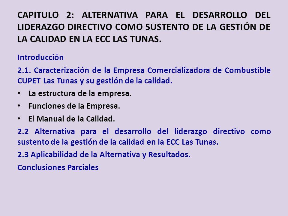 CAPITULO 2: ALTERNATIVA PARA EL DESARROLLO DEL LIDERAZGO DIRECTIVO COMO SUSTENTO DE LA GESTIÓN DE LA CALIDAD EN LA ECC LAS TUNAS. Introducción 2.1. Ca