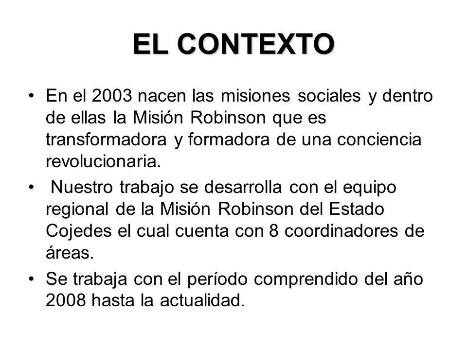 EL CONTEXTO En el 2003 nacen las misiones sociales y dentro de ellas la Misión Robinson que es transformadora y formadora de una conciencia revolucionaria.